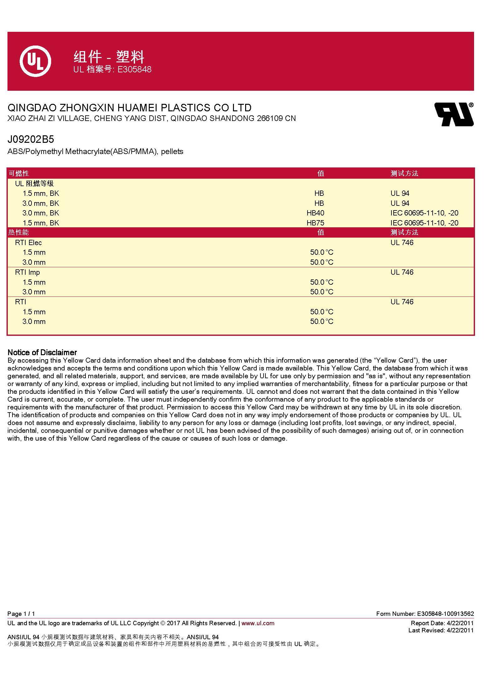 ABS/PMMA  J09202B5 UL认证