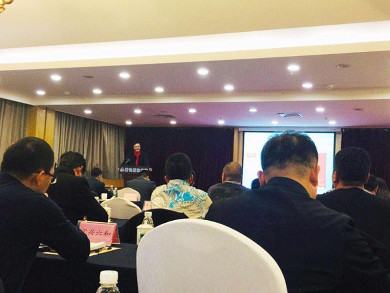 青岛中新华美塑料有限公司总经理王东先生在会议厅发表演讲