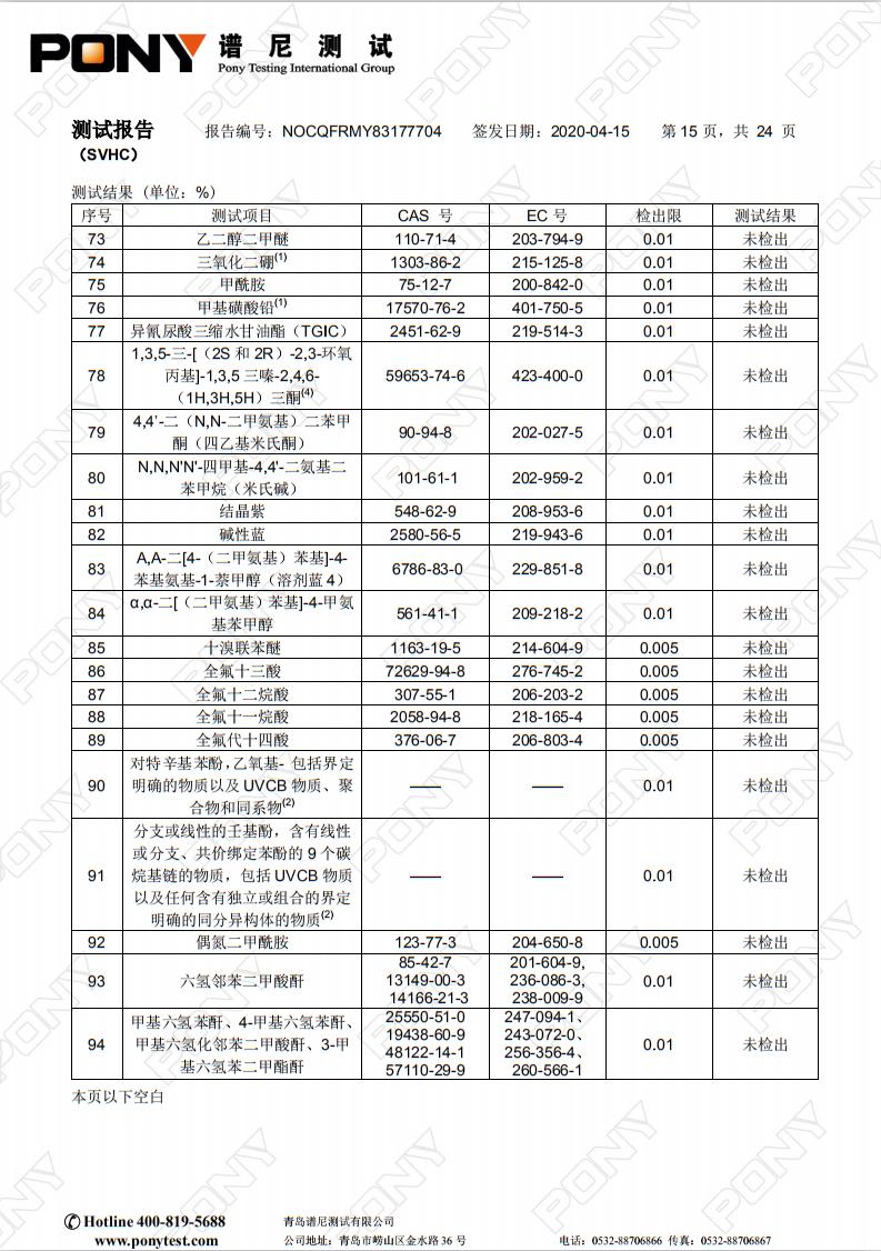 熔喷无纺布专用料M1500 reach-205项 测试报告 05