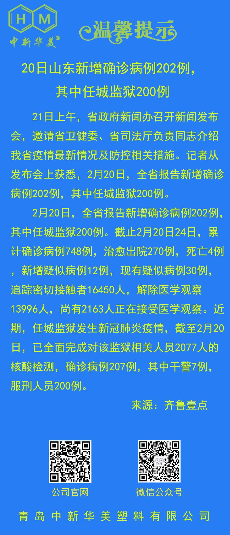 中新华美改性塑料温馨提示:20日山东新增确诊病例202例