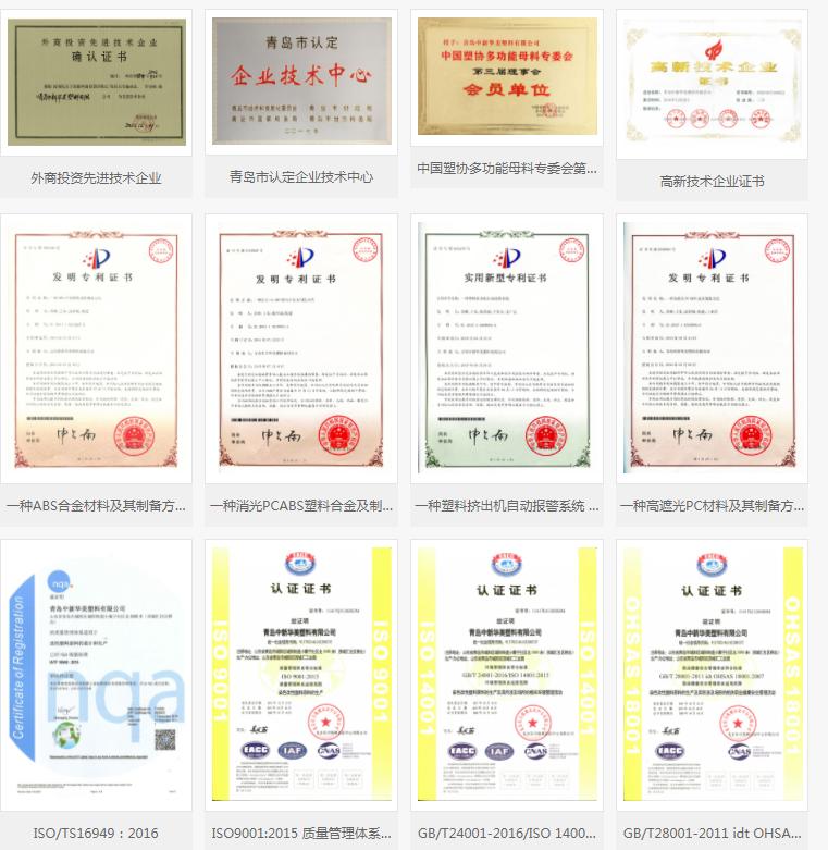中新华美改性塑料荣誉资质